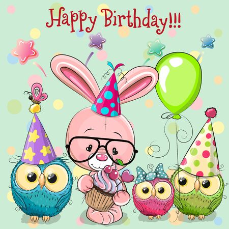 Birthday card with Cute Rabbit and owls with balloon and bonnets Ilustração