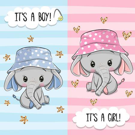 Tarjeta de felicitación de Baby Shower con lindo elefante niño y niña