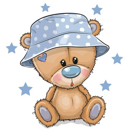 Cute Cartoon Teddy Bear in panama hat isolated on a white background