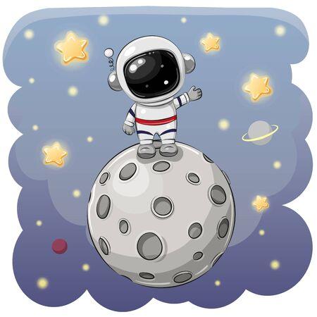 Astronauta de dibujos animados lindo en la luna sobre un fondo espacial