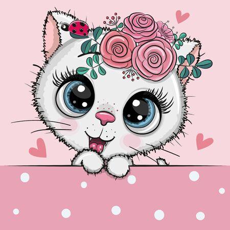 Gatito blanco de dibujos animados lindo con flores sobre un fondo rosa