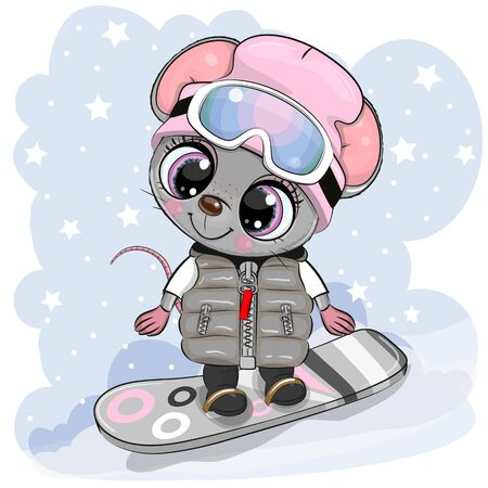 Cute cartoon Mouse Girl on a snowboard on a blue background