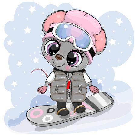 Cute dibujos animados Mouse Girl en una tabla de snowboard sobre un fondo azul.