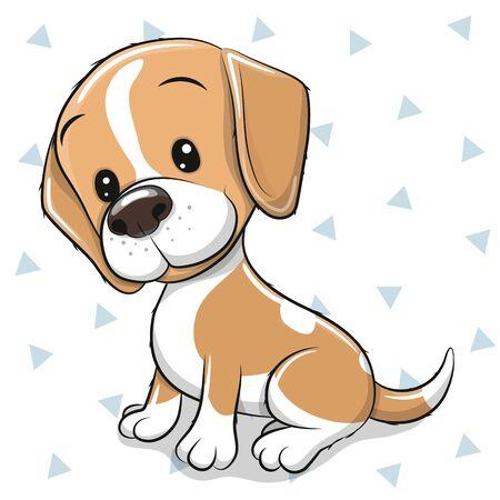 Cute cartoon Dog beagle on a white background