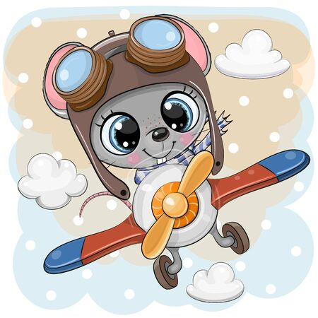 Cute Cartoon Mouse is flying on a plane Illustration