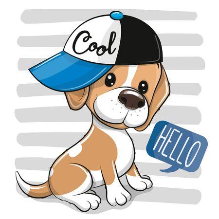 Cute cartoon Dog Beagle in a cap on a on a striped background