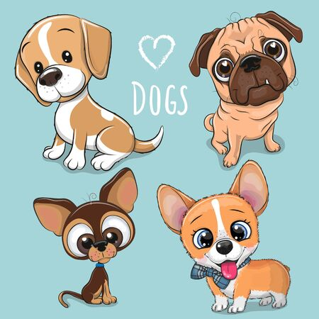 Set of Cute Cartoon Dogs on a blue background