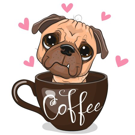 Cute Cartoon Pug Dog is sitting in a Cup of coffee