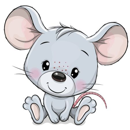 Cute Cartoon Mouse isolated on a white background Çizim