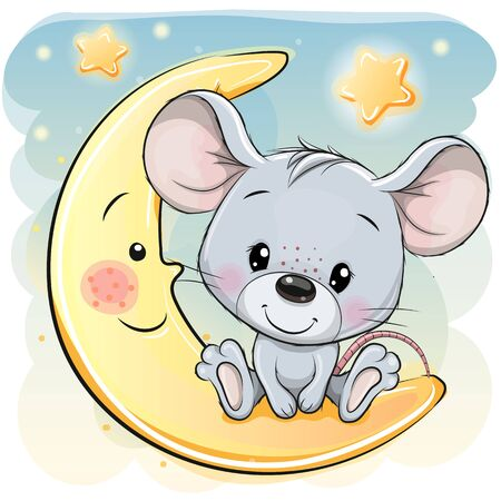 Cute Cartoon Mouse is sitting on the moon