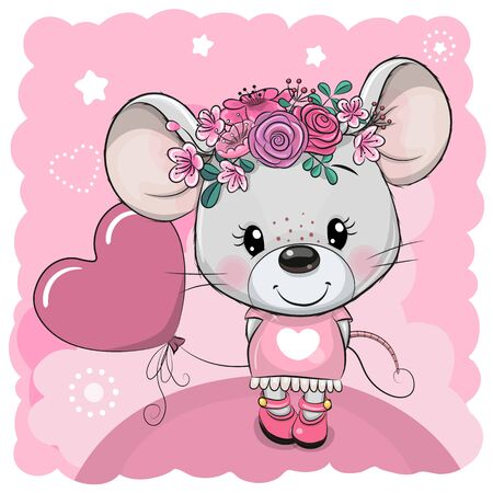 Cute Cartoon Mouse with flowers and balloon on a pink background Illustration