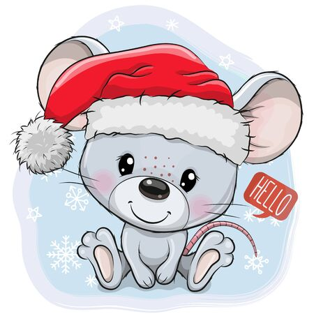 Cute Cartoon mouse in Santa hat on a blue background