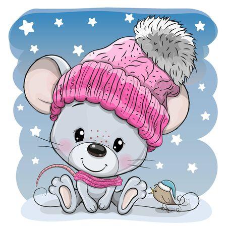 Cute Cartoon mouse in a knit cap and a bird