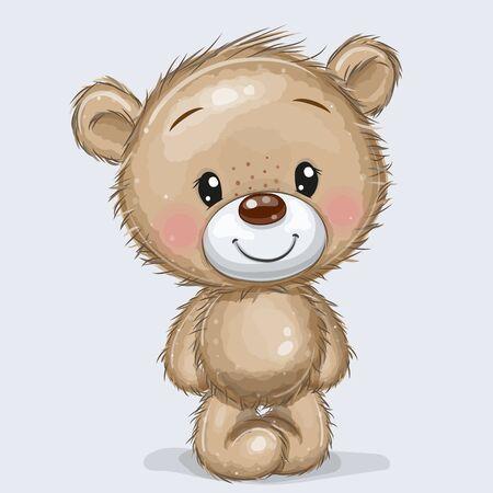 Niedlicher Cartoon-Teddybär isoliert auf weißem Hintergrund Vektorgrafik