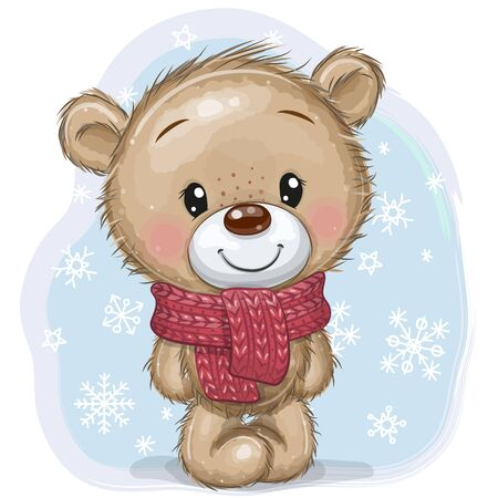 Cute Cartoon Teddy Bear in a knitted scarf on a blue background Ilustracja