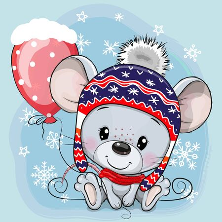 Cute Cartoon mouse in a knit cap with a red balloon