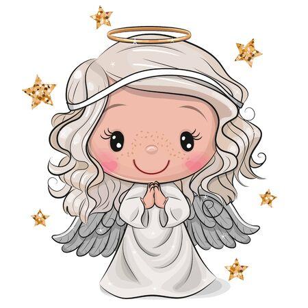 Ángel de Navidad de dibujos animados lindo aislado sobre fondo blanco