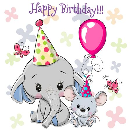 Birthday card with Cute Elephant and mouse with balloon and bonnets