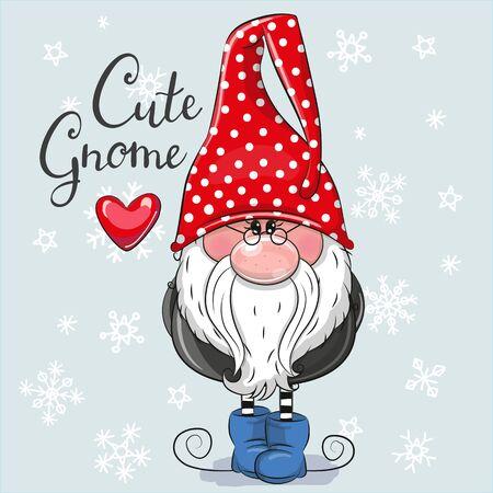 Gruß Weihnachtskarte Cute Cartoon Gnome auf blauem Hintergrund