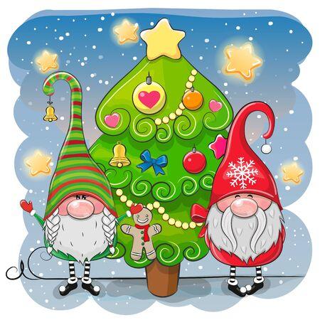 Due gnomi simpatici cartoni animati e albero di Natale Vettoriali
