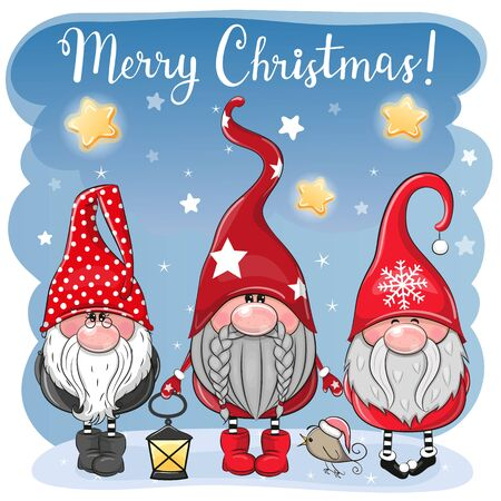 Greeting Christmas card with Three cute Gnomes on a blue background