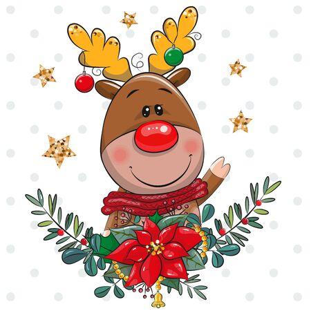 Vector illustration Cute cartoon Deer with Christmas wreath