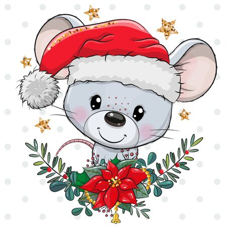 Cute Cartoon mouse in Santa hat with christmas wreath