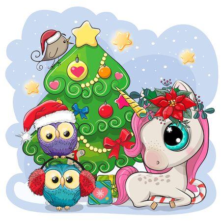 Cute Cartoon Unicorn and Two Owls è vicino all'albero di Natale Vettoriali