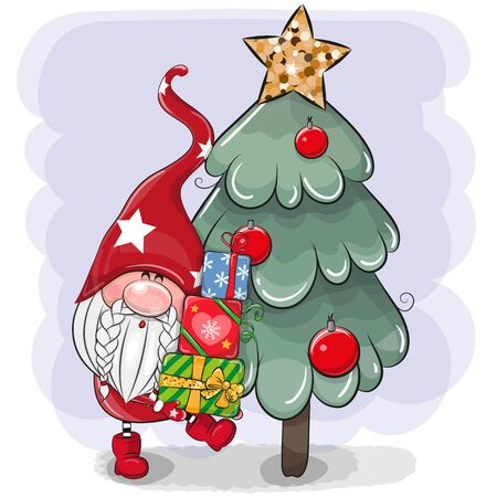 Cute Cartoon Gnome with gifts near the Christmas tree Ilustrace