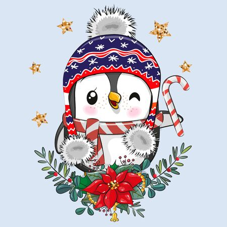 Vector illustration Cute cartoon Penguin with Christmas wreath Ilustrace