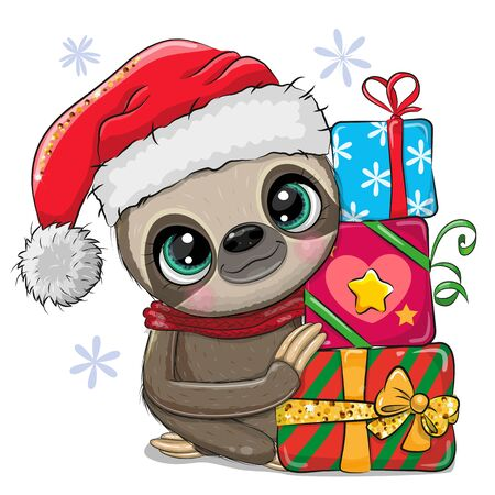 Cute Cartoon Sloth with gifts in a Santa hat 向量圖像