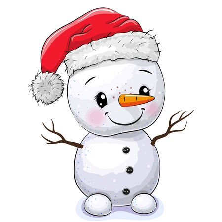 Cute Cartoon Snowman isolated on a white background