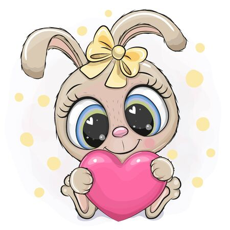 Cute cartoon Rabbit girl with heart on a white background