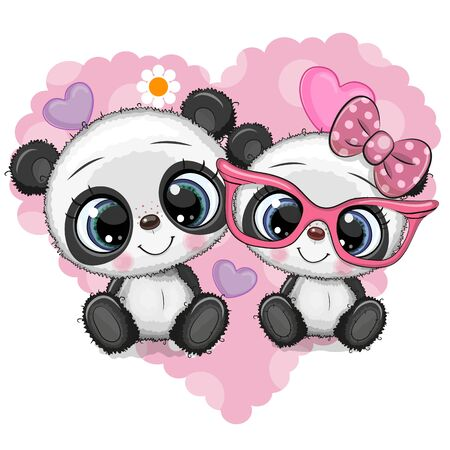 Two Cute Cartoon Pandas on a heart background
