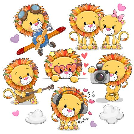 Set of Cute Cartoon Lions on a white background