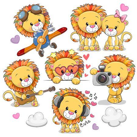 Set di leoni simpatici cartoni animati su sfondo bianco Vettoriali