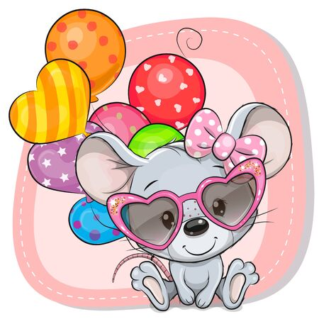 Greeting card Cute Cartoon Mouse with balloons