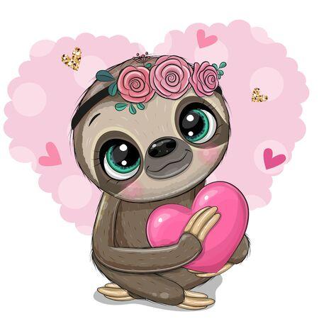 Cute Cartoon Sloth with a heart on an heart backgrouns