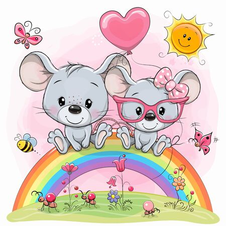 Two Cute Cartoon mouses are sitting on the rainbow Ilustracja