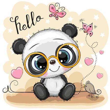 Cute Cartoon Panda with glasses on a yellow background Иллюстрация
