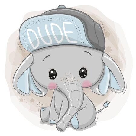 Cute Cartoon Elephant with a blue cap on a beige background