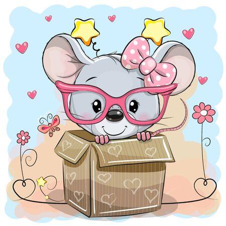 Valentinskarte mit einem süßen Mäusemädchen in einer Box