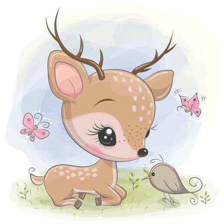Cute Cartoon deer with bird on the meadow