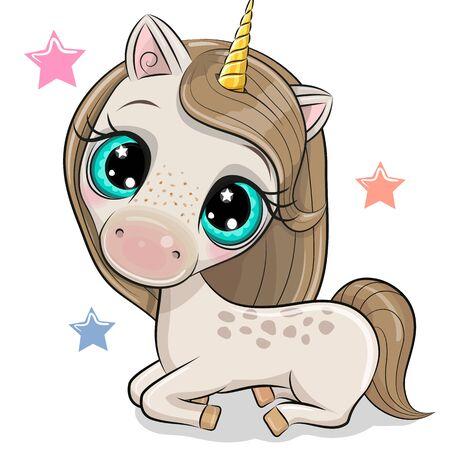Cute Cartoon Unicorn isolated on a white background