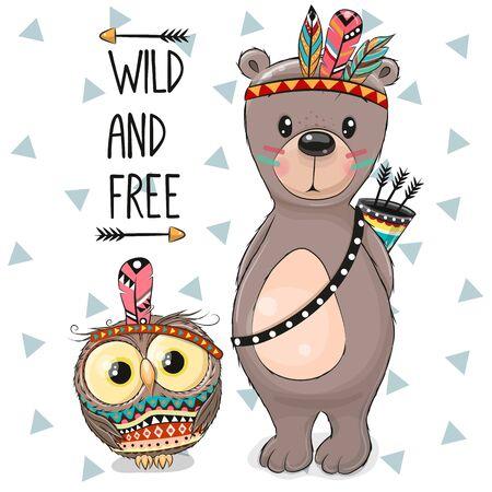 Cute Cartoon tribal Bear and owl with feather