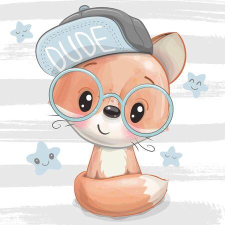 Cute Cartoon Fox with a blue cap and glasses