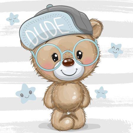 Cute Cartoon Teddy bear with a blue cap and glasses