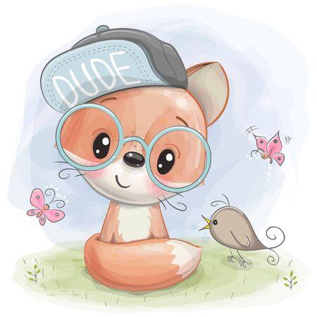 Cute Cartoon Fox with bird on the meadow