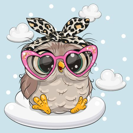 Cute Cartoon Owl in pink glasses on the cloud