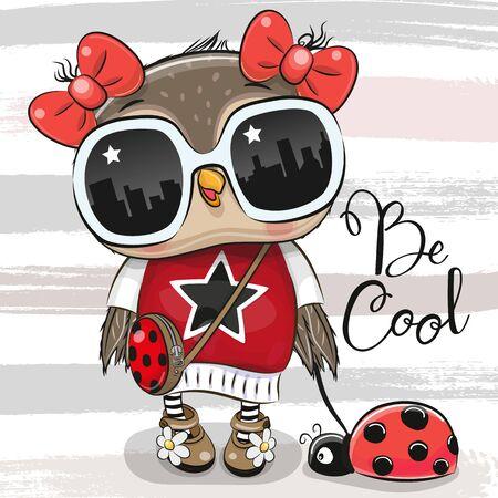 Cool Cartoon Cute Owl with sun glasses and ladybug